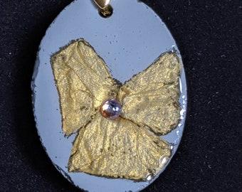 Geranium Grey and Gold Concrete Pendant Necklace