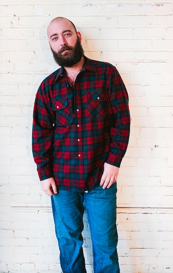 Red and Green Pendleton Flannel Shirt, Vintage Men