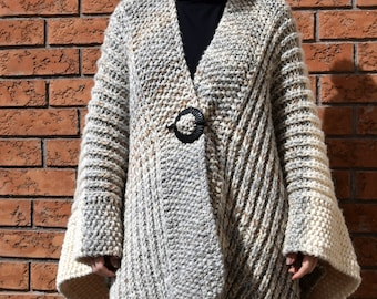 Fisherman poncho, Blanket poncho knitting pattern, , brioche pattern, spring fashion for ladies, advanced beginner pattern,