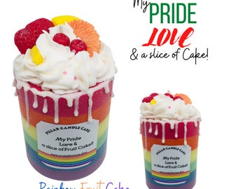 LGBT Candle Cake taste the Rainbow with Pride shortbread layered mixed Fruit cake scented pillar candle