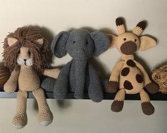Amigurumi, Safari Trio includes: elephant, giraffe and lion, Baby room shelf decoration, Crocheted animals, Unique baby shower gift