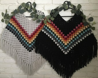 Ladies hippie, boho, crocheted, fringed retro poncho minus the cowl