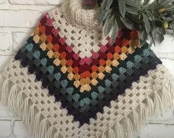 Girl/toddler crocheted, boho, fringed, turtle neck poncho