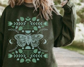 Moth Illustration Gothic Hippie Hippie Stuff Hippie Aesthetic Cottagecore Clothing Luna Moth Oversized Sweatshirt Aesthetic Sweatshirt Moon