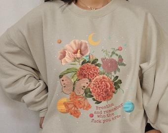 Butterfly Top Aesthetic Moon Phase Print New Moon Sweatshirt Cottagecore Clothing Solar System Celestial Shirt Fairy Kei Fairy Aesthetic