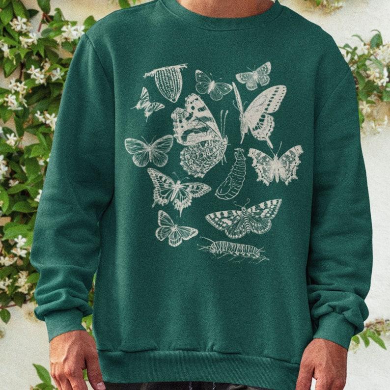 Butterfly Top Aesthetic Sweatshirt Oversized Sweatshirt Art image 0