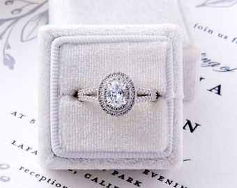 Brooklyn: Double Halo Split Shank Oval Cut Engagement Ring