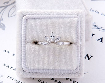 Lily: Curved Marquise Wedding band - Sterling Silver & CZ