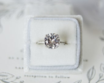 Hannah: Round Cut Solitaire with Under Halo - CZ & Sterling Silver
