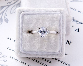 Brie: Oval Cut with side stones Sterling Silver Engagement Ring
