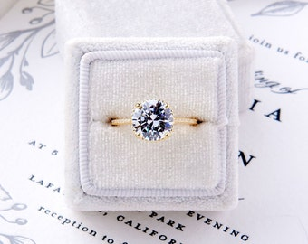 Hannah-Gold: Yellow Gold Engagement Ring with Under Halo