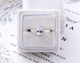 Gwen: 2 Carat Teardrop Pear Cut Engagement Ring - Sterling Silver & CZ