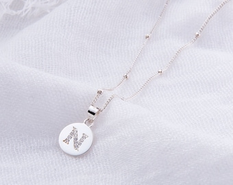 Initial Pendant Necklace: Sterling Silver & CZ