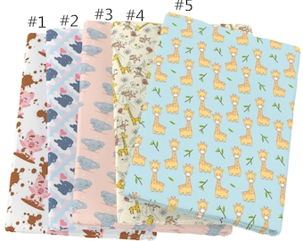 Cute Animal Giraffe Elephant Printed 100% Cotton Fabric by Half Yard for DIY Sewing Crafting Patchwork Crafts