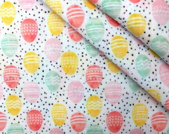 Happy Easter Eggs Printed 100% Cotton Fabric by Half Yard for Easter Decor DIY Projects