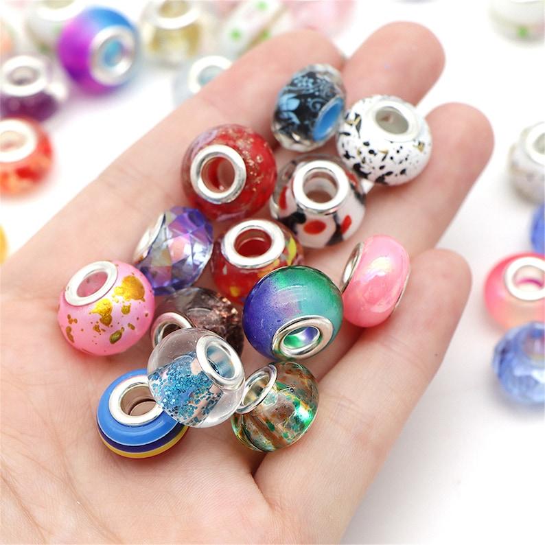 100pcs Random Pattern European Beads Large Hole Beads for Bracelet Jewelry Making