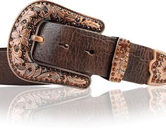 Jewelry belt 4 cm with rhinestone belt buckle coppers, italian style
