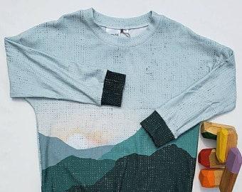 5T Mountain Sunset Dolman Sweater