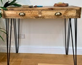 Narrow Handmade Rustic Coffee Table - Hall Foyer Table with Drawers made from Reclaimed Industrial Wood. Upcycled Pallet Furniture Range.