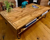 Large Handmade Rustic Coffee Table - Sofa Table with storage made from Reclaimed Industrial Wood. Upcycled Pallet Furniture Range.