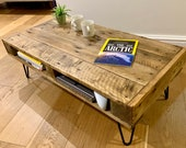 Handmade Rustic Coffee Table - Sofa Table with storage made from Reclaimed Industrial Wood. Upcycled Pallet Furniture Range.
