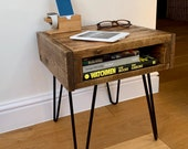 Handmade Rustic Side Table - End Table with storage made from Reclaimed Industrial Wood. Upcycled Pallet Furniture Range.