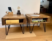 Pair of Handmade Rustic Bedside Tables - Nights Stands - Side Tables made from Reclaimed Industrial Wood. Upcycled Pallet Furniture Range.