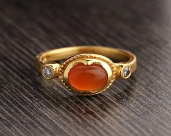 Oval Carnelian Ring Natural Carnelian Ring Gold Ring CZ Ring August Birthstone Ring Statement Ring Carnelian CZ Ring Handmade Ring