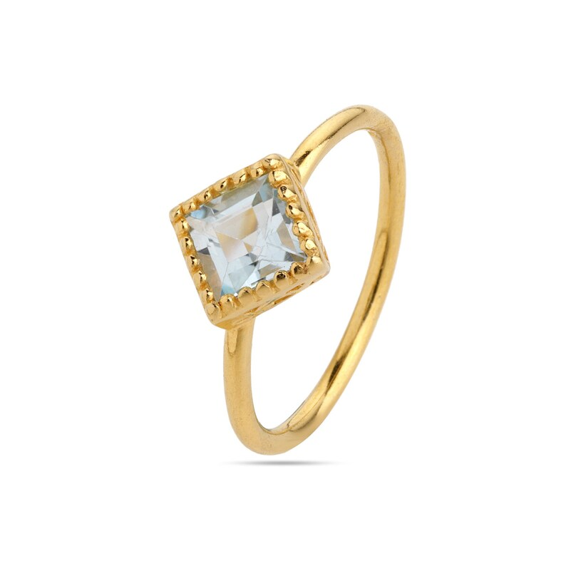 Something Blue custom ring sizes Solid Silver Blue Stone Ring Swiss Blue Topaz Gold Ring Topaz Square shaped blue stone