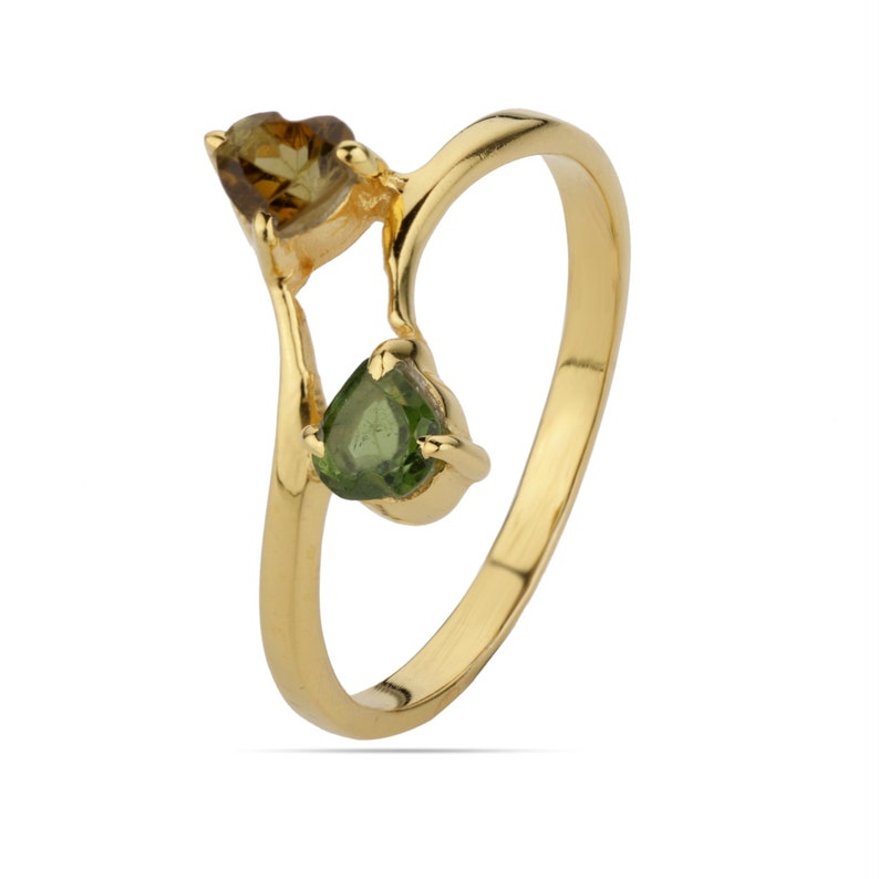 Two Birthstone Ring Heart Tourmaline Ring Promise Ring Stacking Ring Tourmaline Gemstone Ring