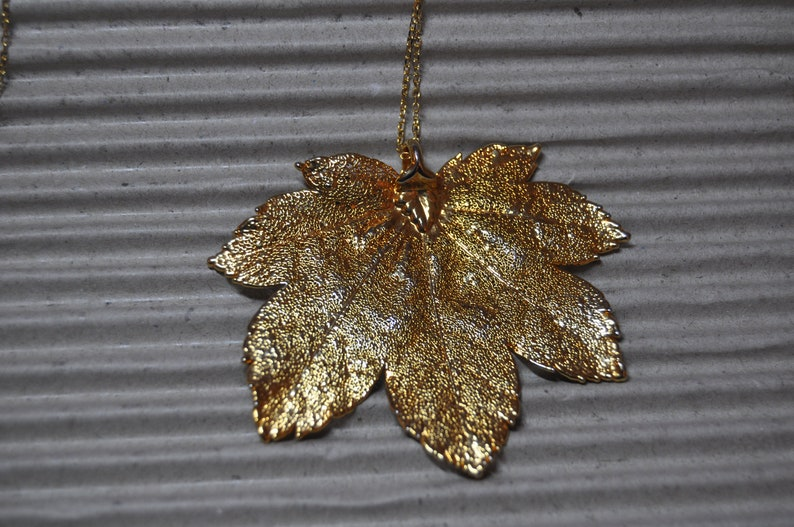 Witchy Gold Dipped Maple Leaf on Gold Tone Chain Autumn Nature Preloved