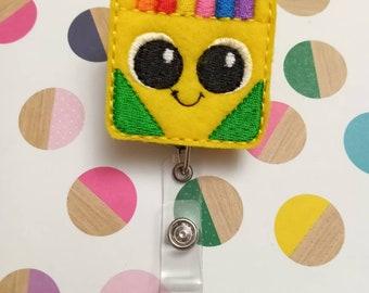 Crayon box badge reel - crayon box - school badge reel - school - teacher badge reel - teacher