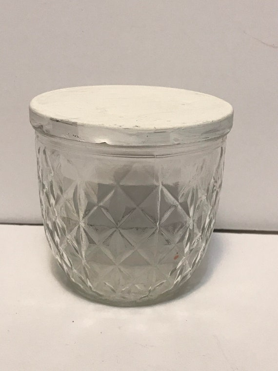 """Vintage Ball """"Quilted Crystal"""" Glass Jelly Jar with lid"""