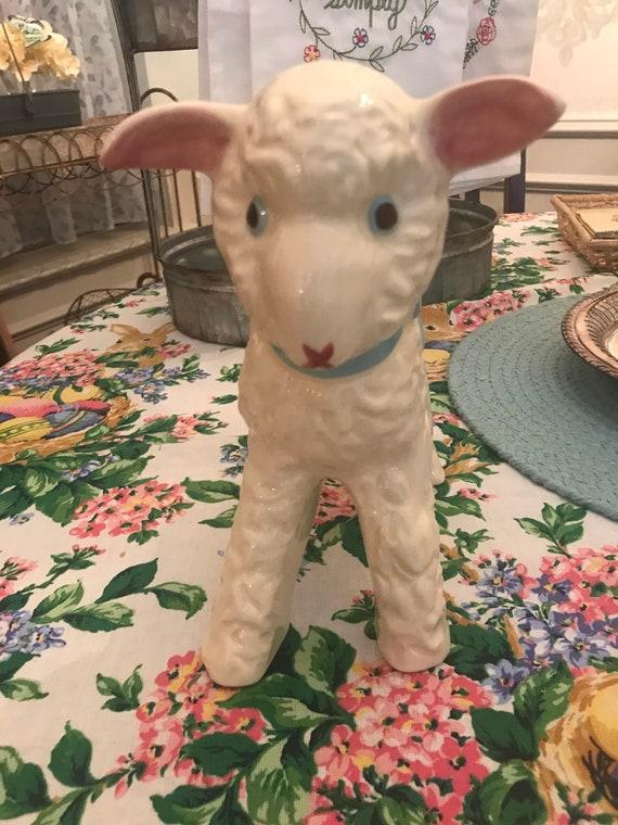 Hull Pottery Baby Lamb Planter Blue Bow