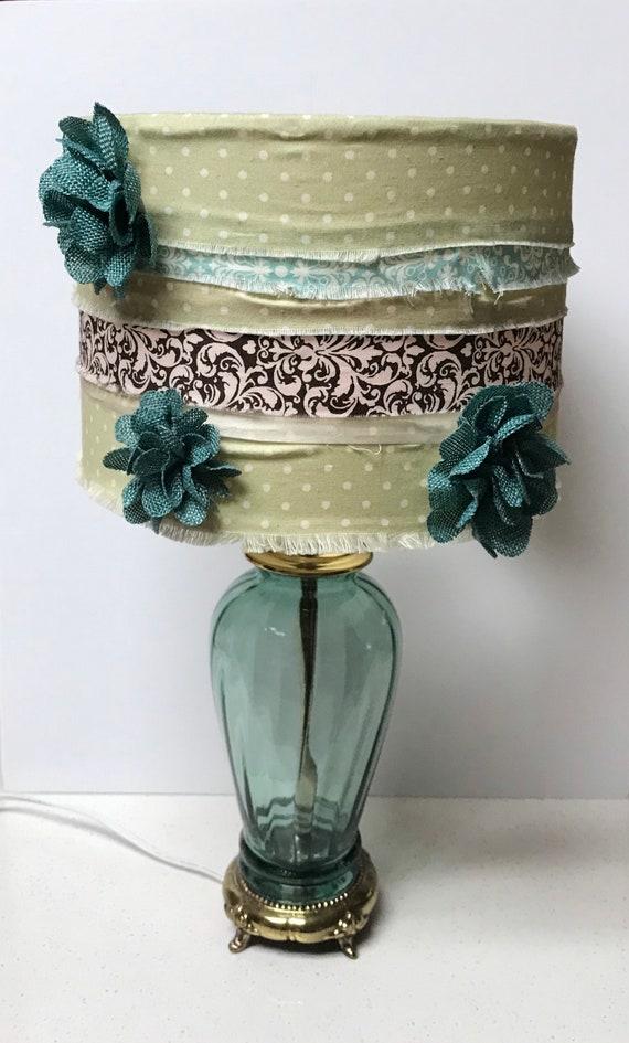 Pretty Teal Glass & Brass Lamp with Embellished Shade