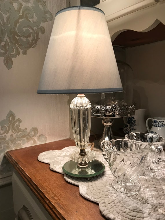 Vintage Glass Lamp with Powder Blue Shade