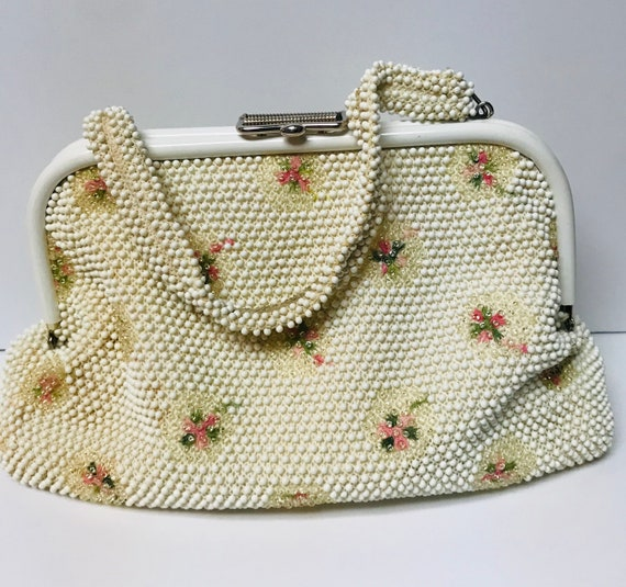 Vtg Purse Art Deco Bakelite Lucite Beaded Hard Clam Shell Clutch White Ivory with Florals