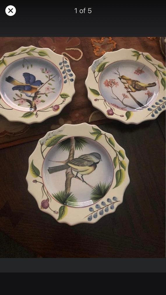 Set of 3 Bird Wall Plates-Decor