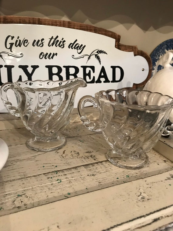 Glass Sugar Bowl & Creamer Set