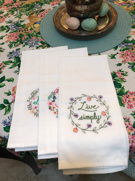 Embroidered Tea Towels Set of 3