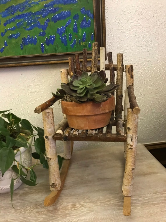 Birchwood Rocker with Potted Faux Succulent