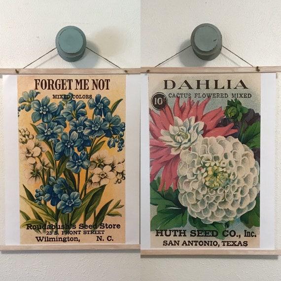 Handmade Seed Packets Pair Wall Hangings