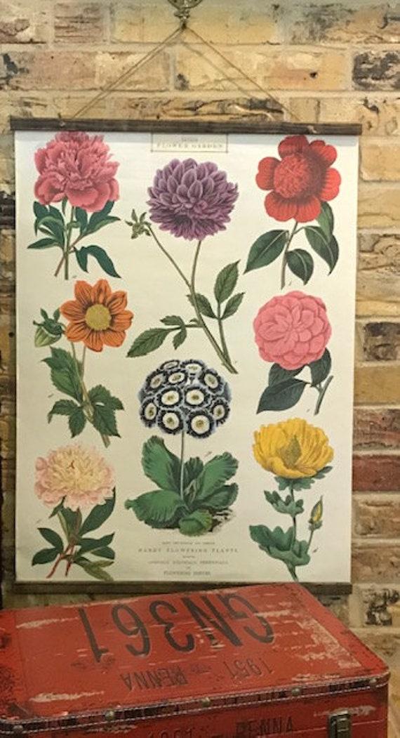 Handmade British Flower Garden Vintage-Style Wall Hanging