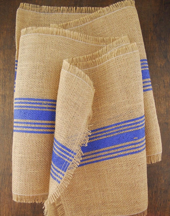 Burlap Blue Striped Table Runner