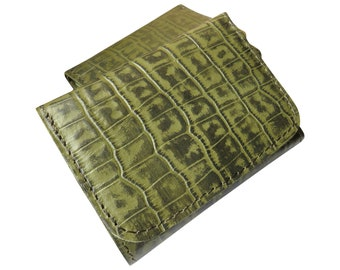 Geldbörse Damen Portemonnaie Geldbeutel Portmonee echtes Lack-Leder Kroko-Textur