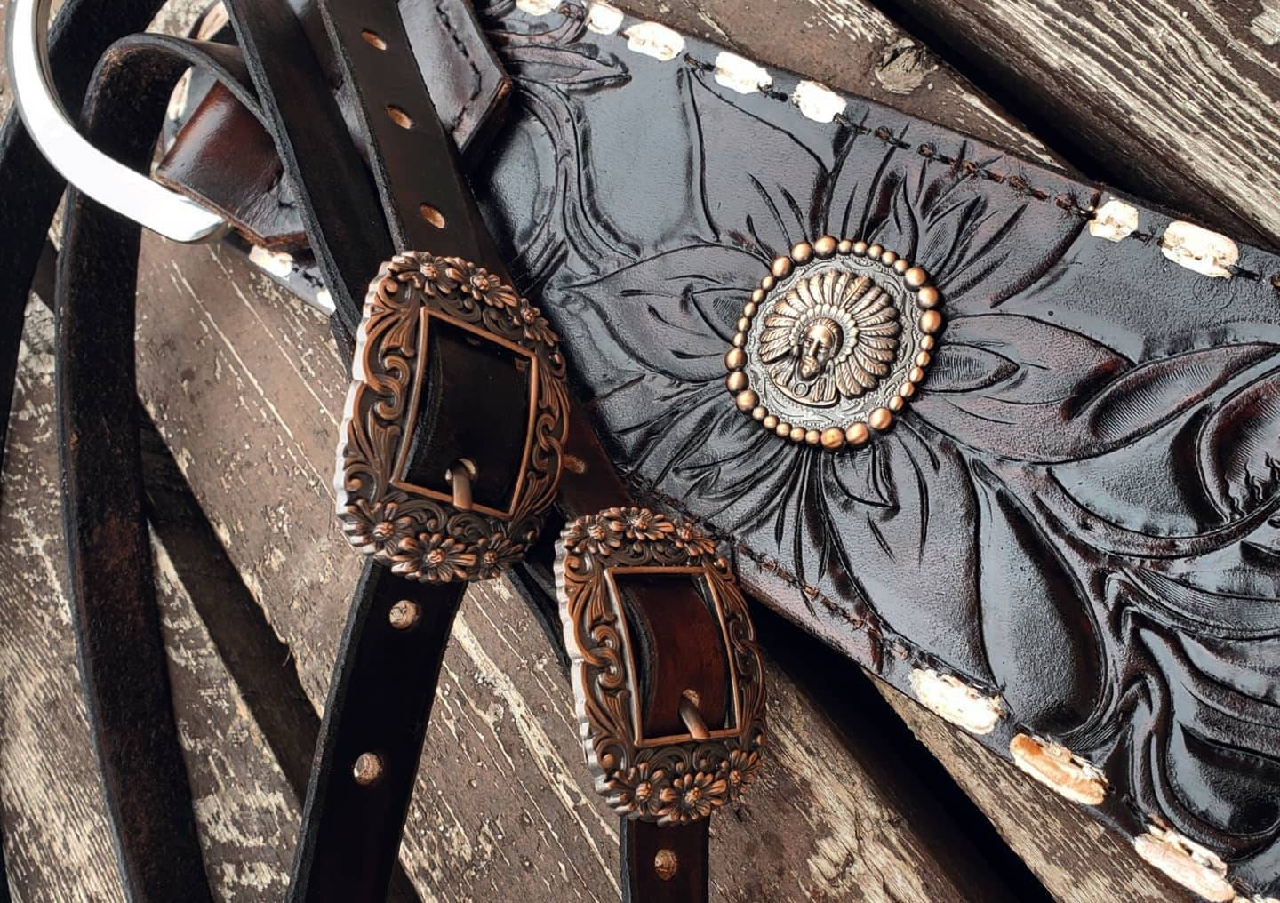 Leather tripping collar with tooled wild flowers and copper/silver hardware and painted white spots