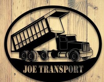 Truck Stop Driver Gift for Boyfriend Men Custom Trucking Gift Stitch Portrait Personalized 18 Wheeler Business Company Logo Sign
