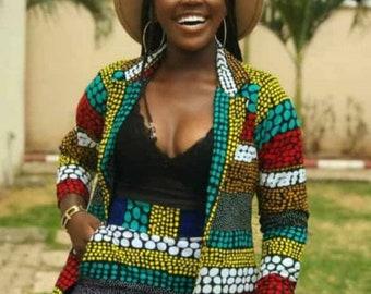 African print blazer with pant-African clothing-Ankara clothing-Women clothing-African fashion Ankara blazer-Ankara corporate