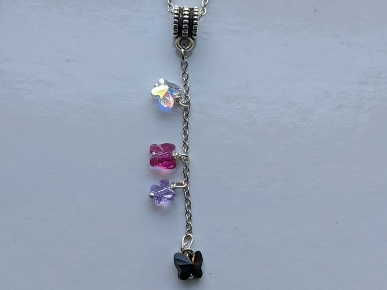 Mix butterfly pendant necklace mixed colors crystal clear, fuchsia, lavender, black