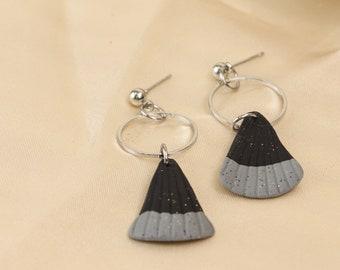 Charcoal Black Hexagon Textured Stud Back Dangle Polymer Clay artsy Earrings
